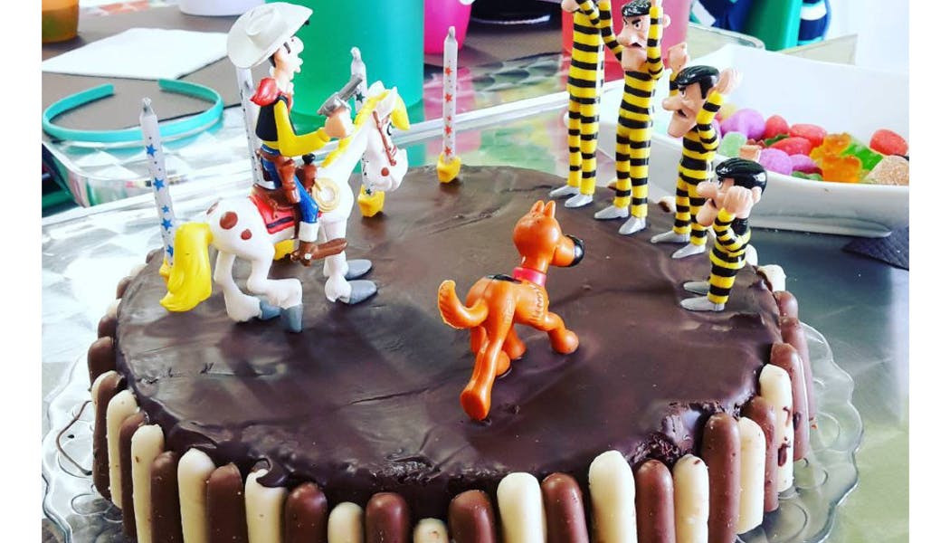 Un gâteau avec Lucky Luke et les Dalton