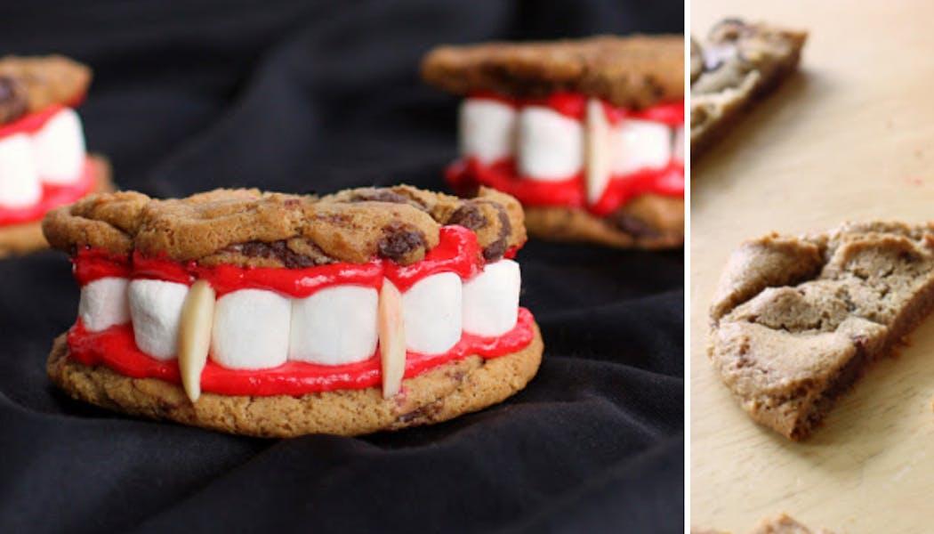 Biscuits dents de Dracula aux pépites de chocolat et aux chamallows
