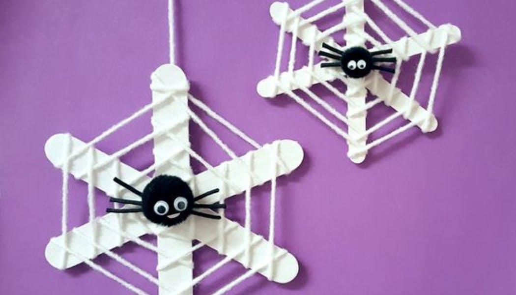 fausses araignées dans leur toile