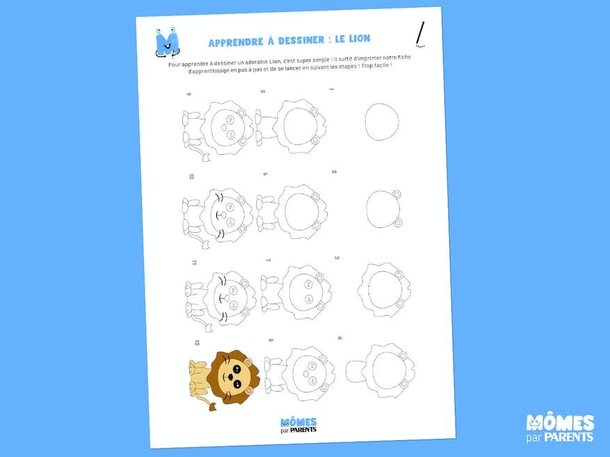 Fiche à imprimer - Apprendre à dessiner : le lion