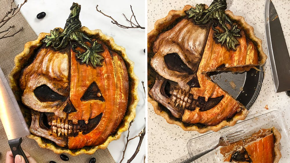 Tarte d'Halloween citrouille et tête de mort