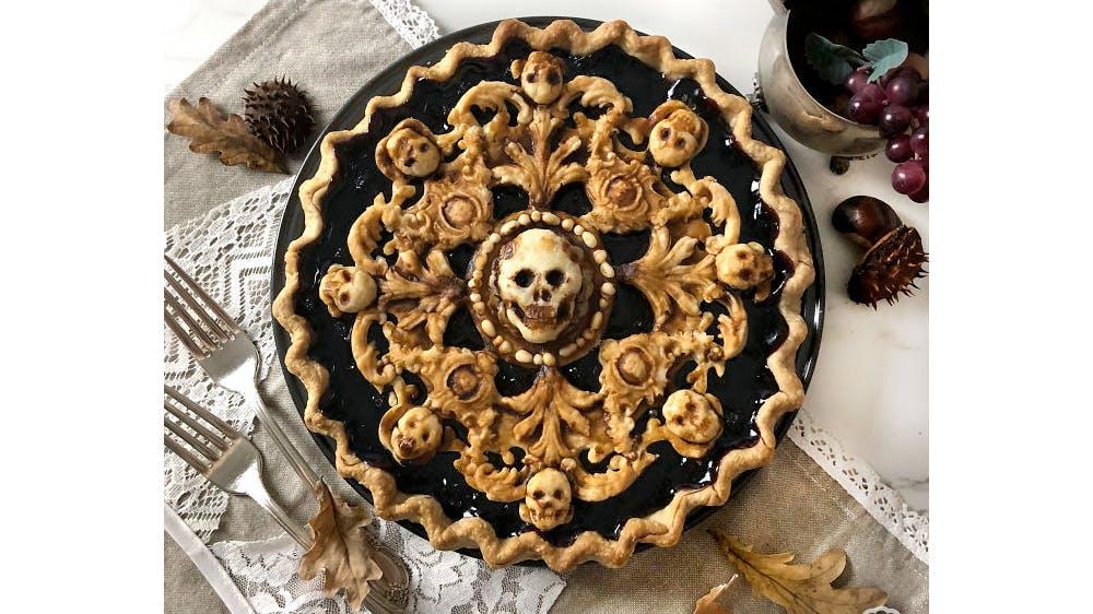 Tarte d'Halloween têtes de mort