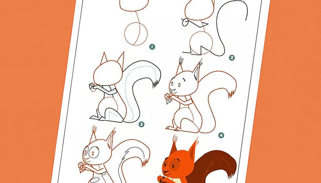 fiche pour apprendre à dessiner un écureuil