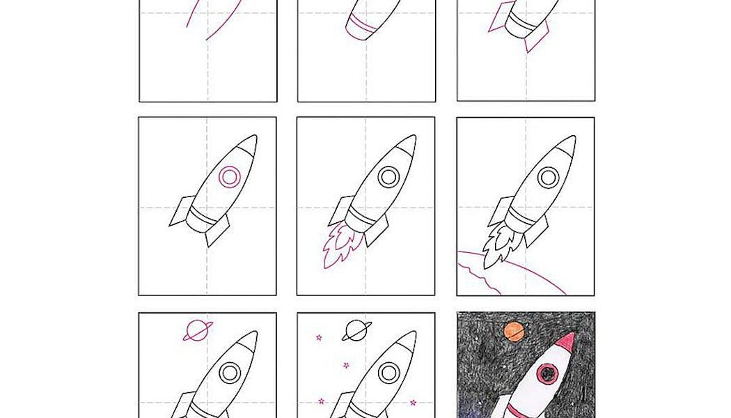 fiche pour apprendre à dessiner : une fusée