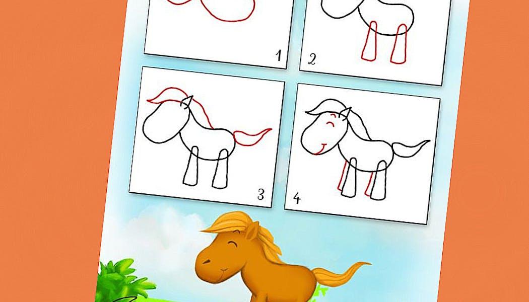 fiche pour apprendre à dessiner un cheval