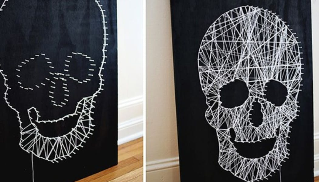 tête de mort en string art