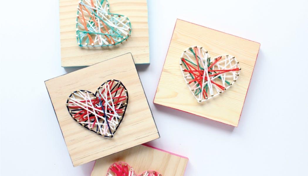 des cœurs en string art