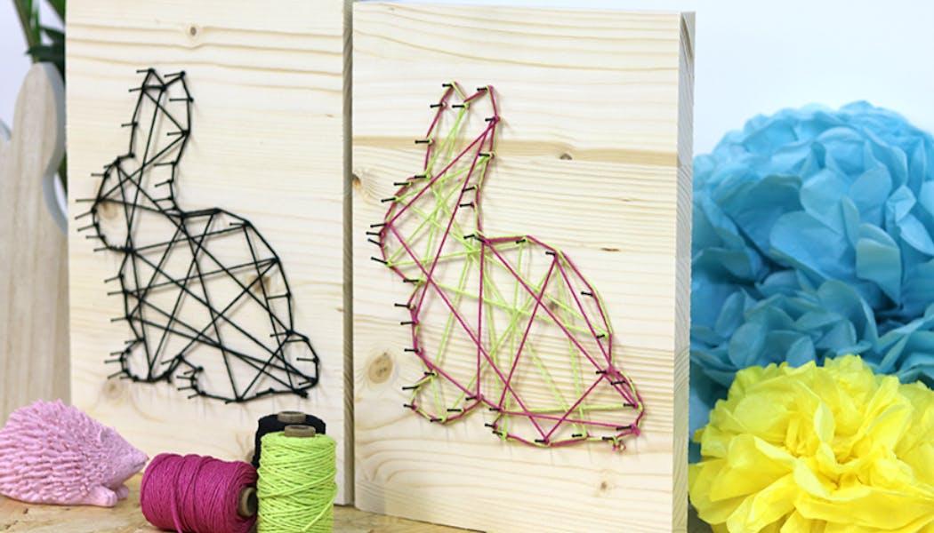 un lapin en string art