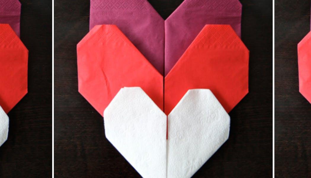 Pliage de serviette en cœur