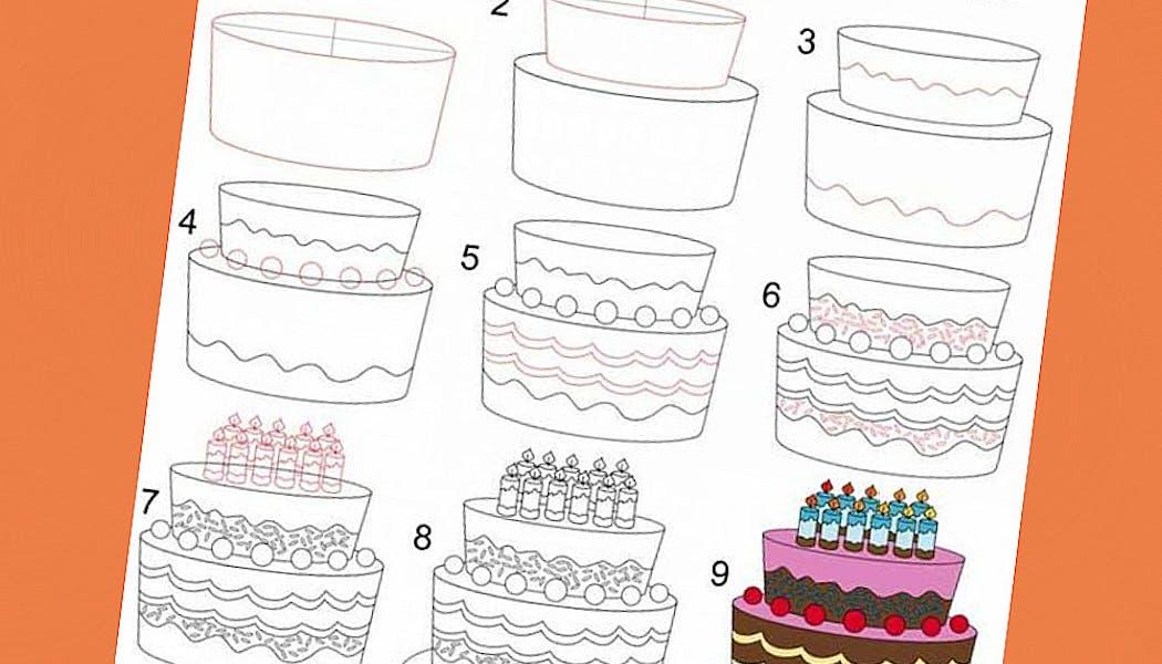 Apprendre à dessiner : un gâteau d'anniversaire