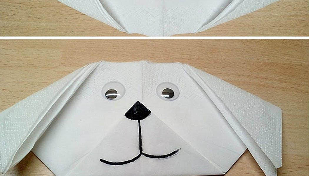 Pliage de serviette en chien