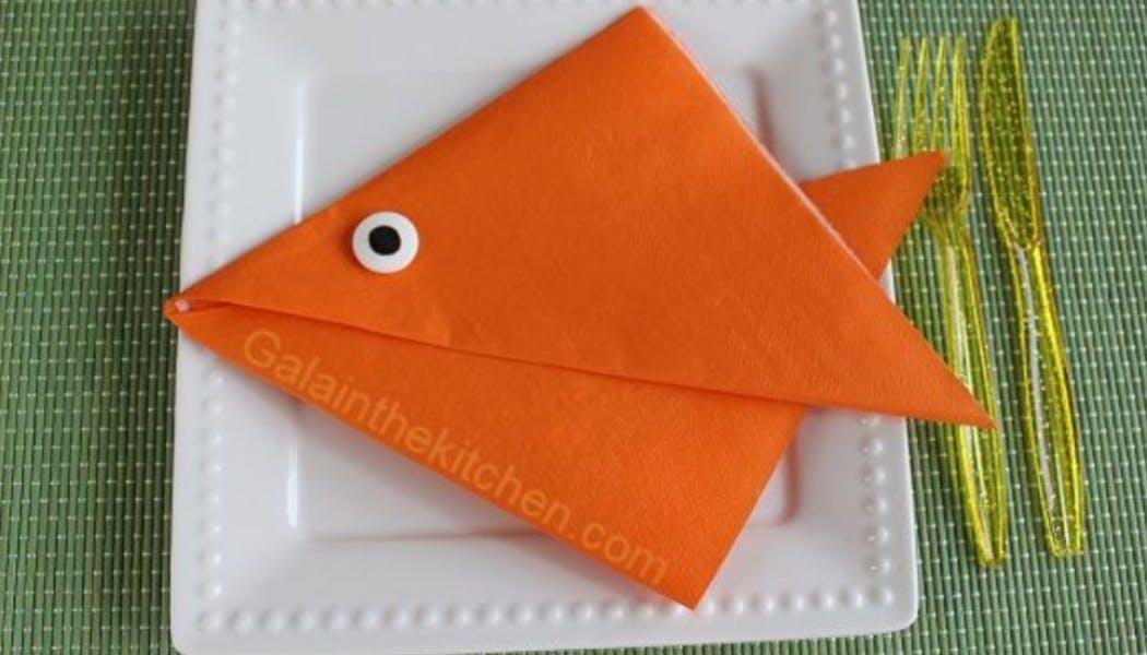 Pliage de serviette en poisson