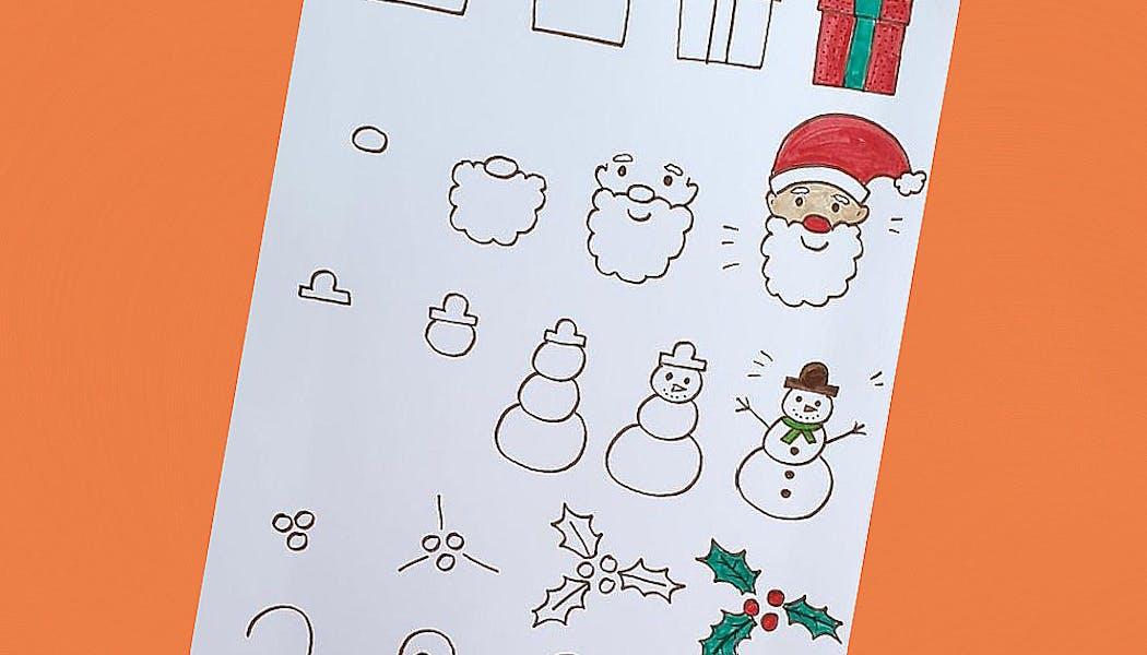 fiche pour apprendre à dessiner les indispensables de Noël