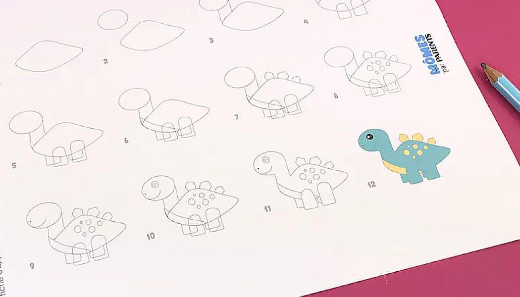 fiche pour Apprendre à dessiner un dinosaure