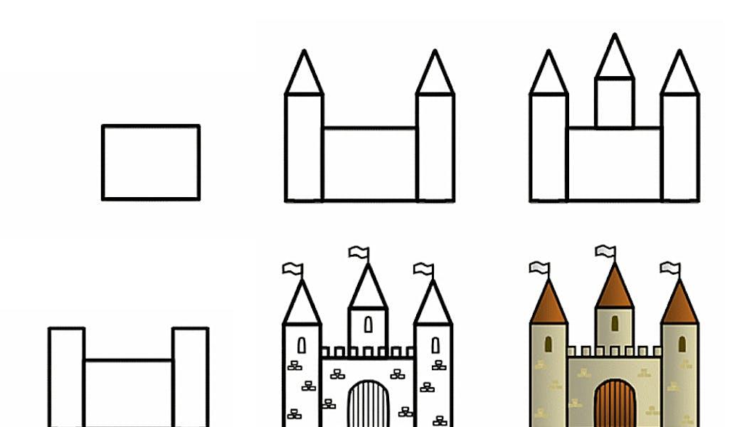 fiche pour apprendre à dessiner un château-fort