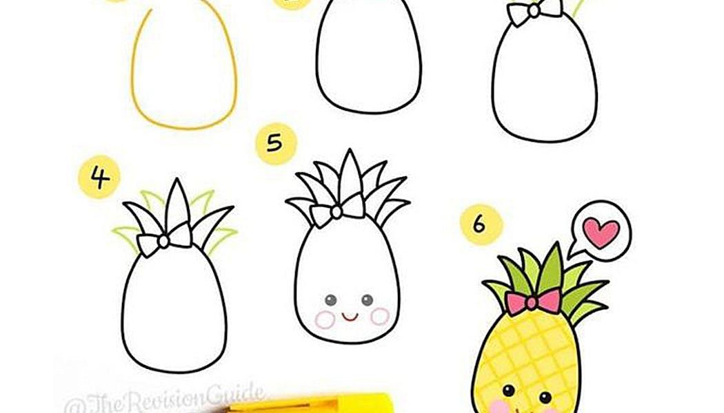 fiche pour apprendre à dessiner un ananas