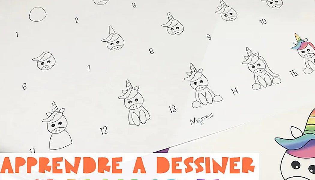 fiche pour apprendre à dessiner une licorne