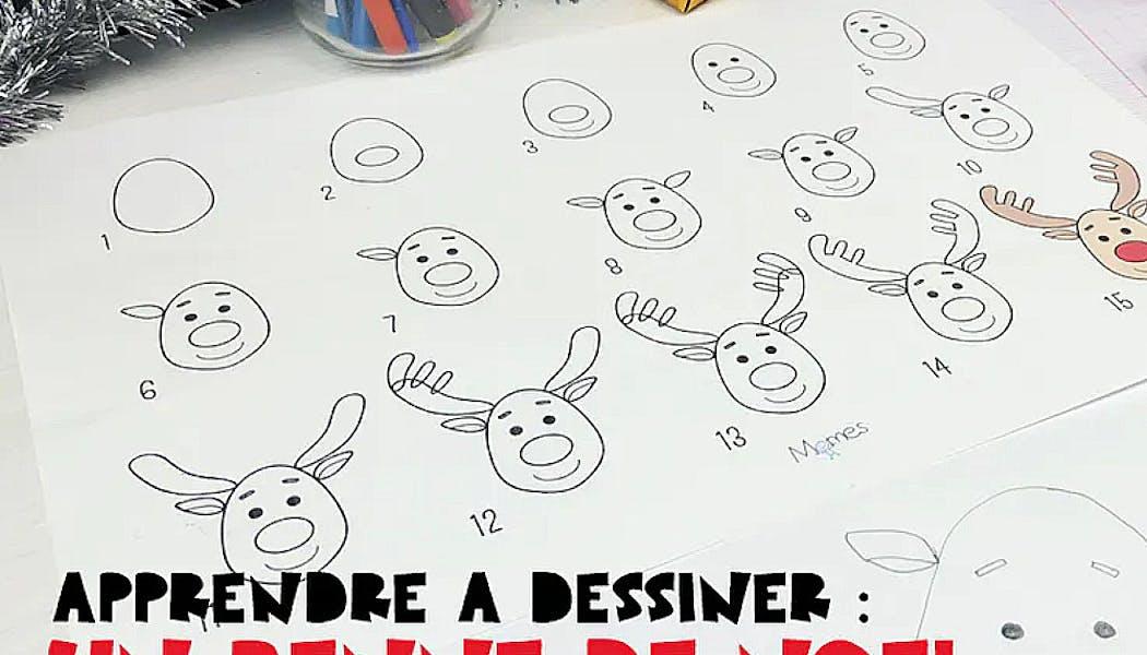 fiche pour apprendre à dessiner un renne de Noël