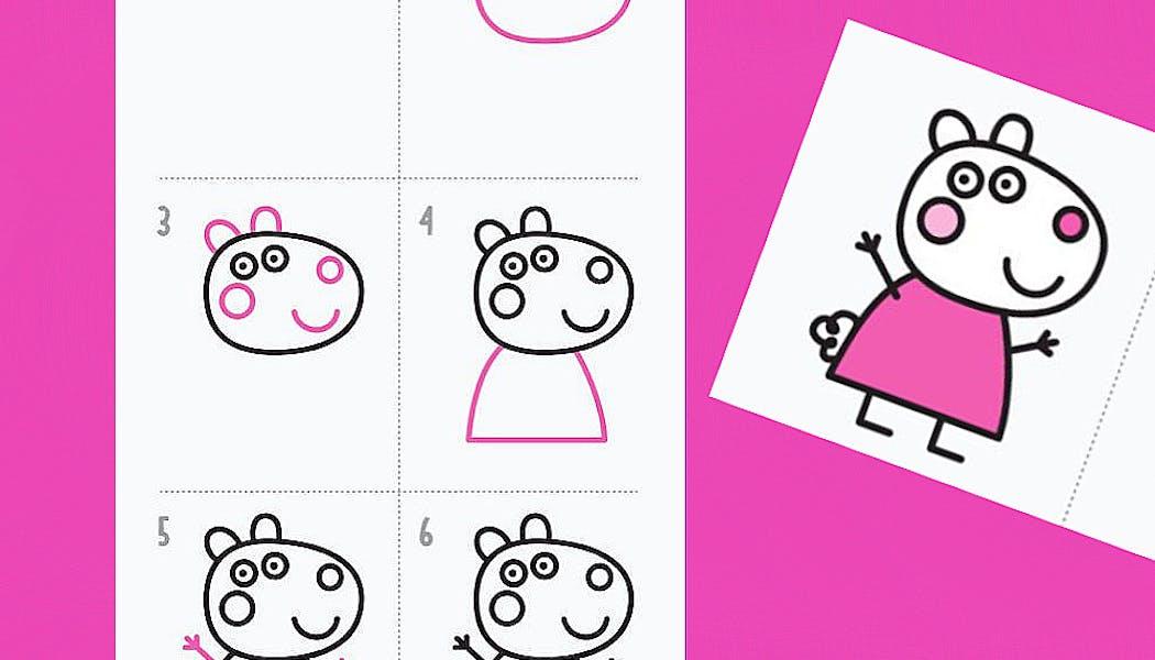 fiche pour apprendre à dessiner Peppa Pig