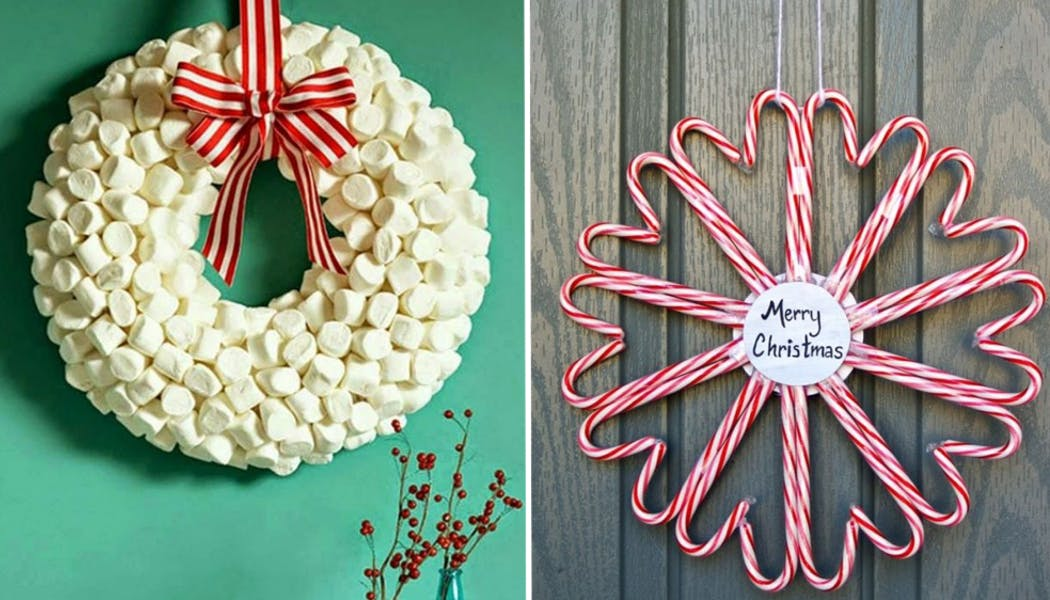 Une gourmande couronne de Noël en bonbons