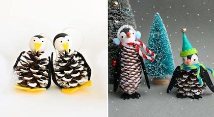 pingouins fabriqués en pommes de pin