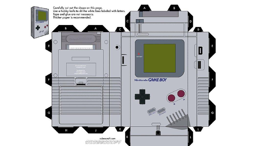 modèle pour faire une Game Boy en papier