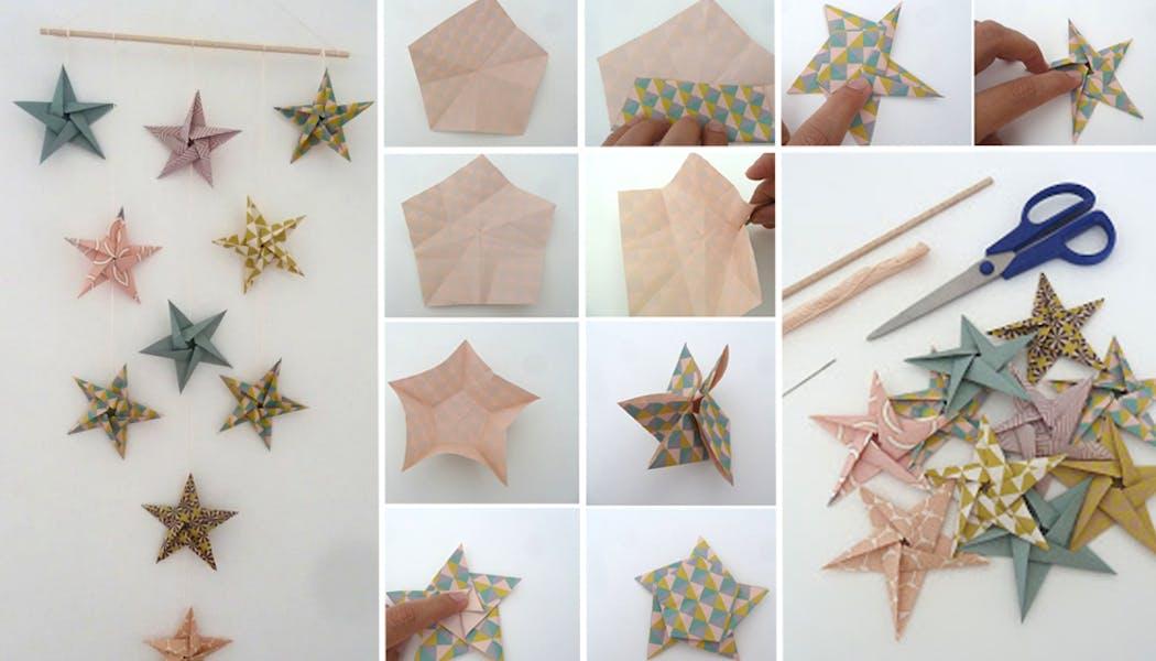 Mobile étoiles en origami