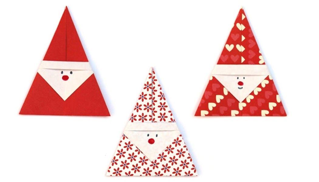 Pères Noël faciles en origami