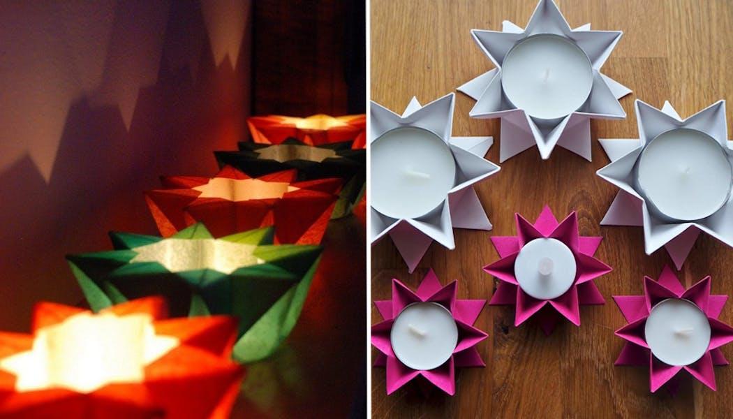 Des portes-bougies en origami