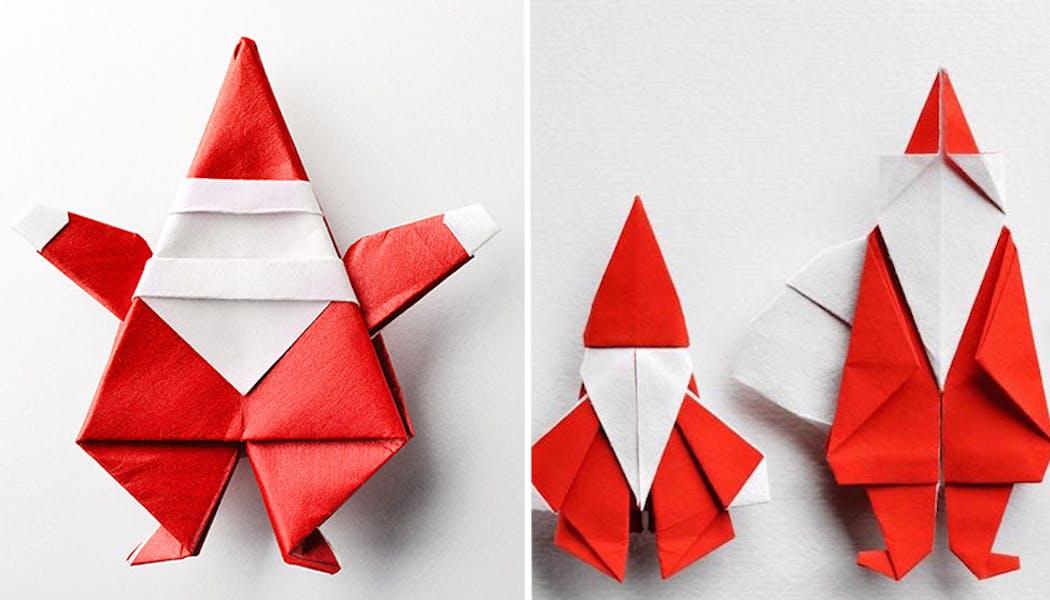 Des Pères Noël en origami