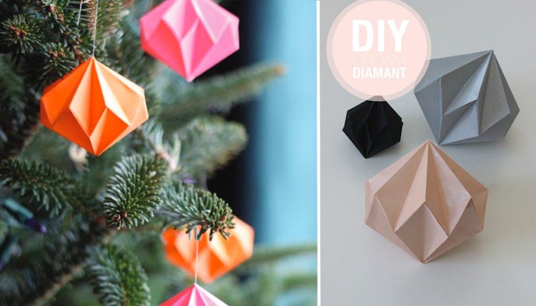Des boules diamants de Noël en origami