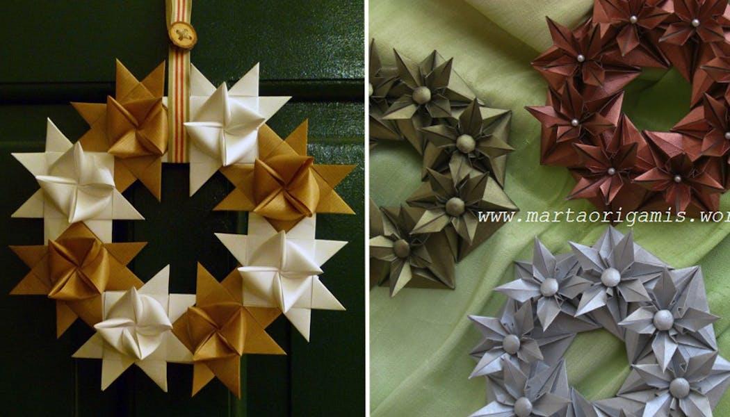 Des couronnes de Noël en origami