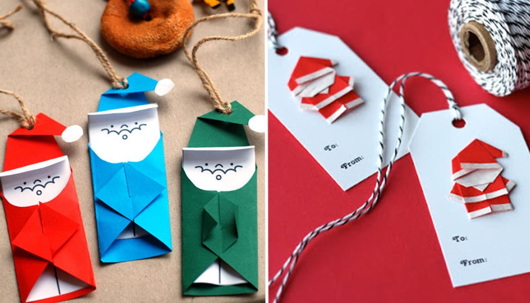 Des étiquettes de cadeaux Pères Noël en origami