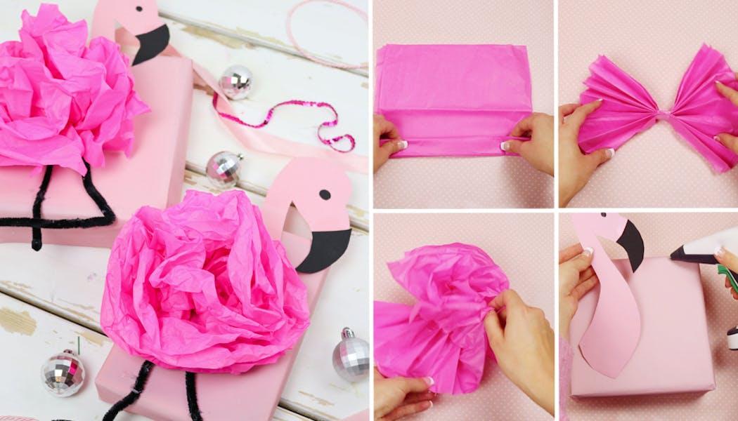fabriquer soi-même un papier cadeau flamant rose