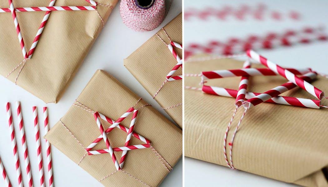 Papier Cadeau avec des pailles en étoiles