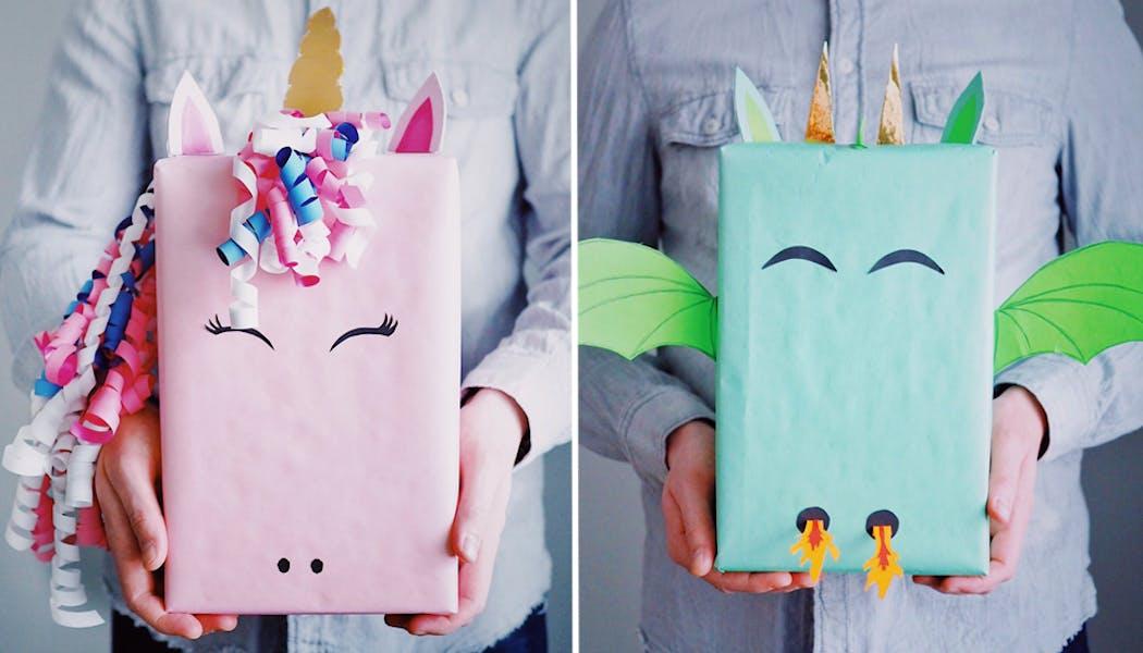 Des papiers cadeaux licorne et dragon