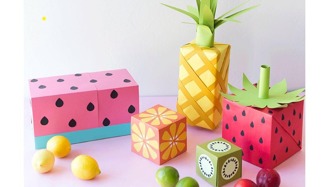 papier cadeau fruits