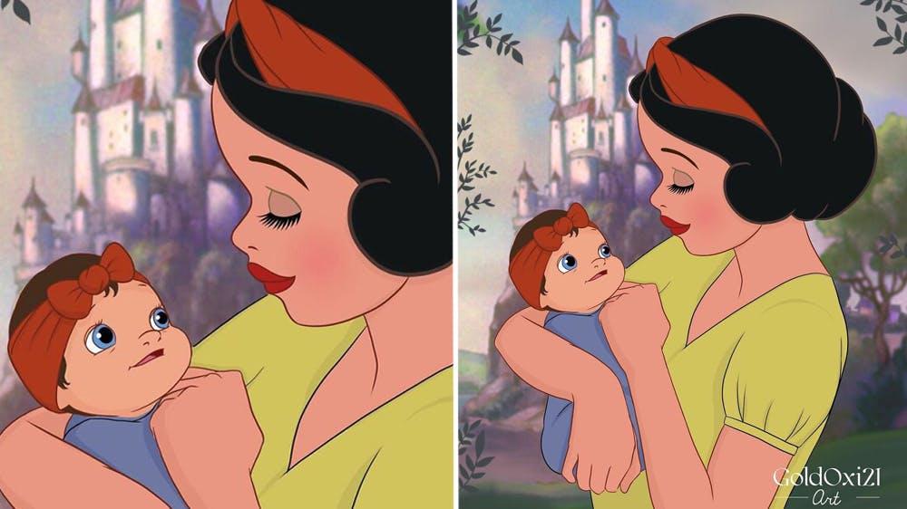 La princesse Disney Blanche Neige devenue maman par Oksana Pashchenko