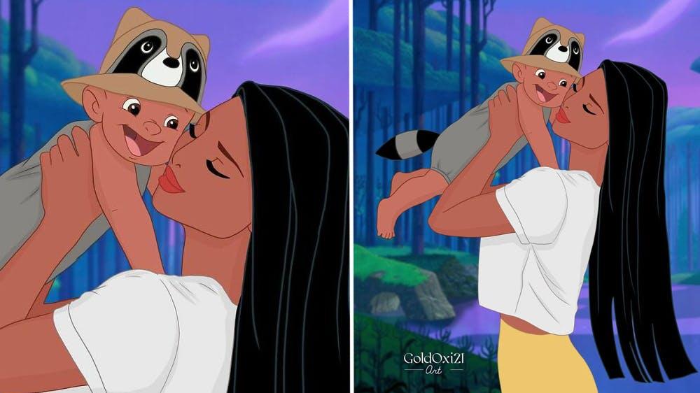 La princesse Disney Pocahontas devenue maman par Oksana Pashchenko