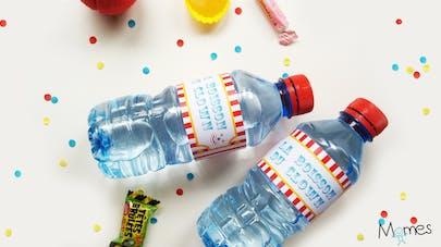 etiquette bouteille d'eau cirque