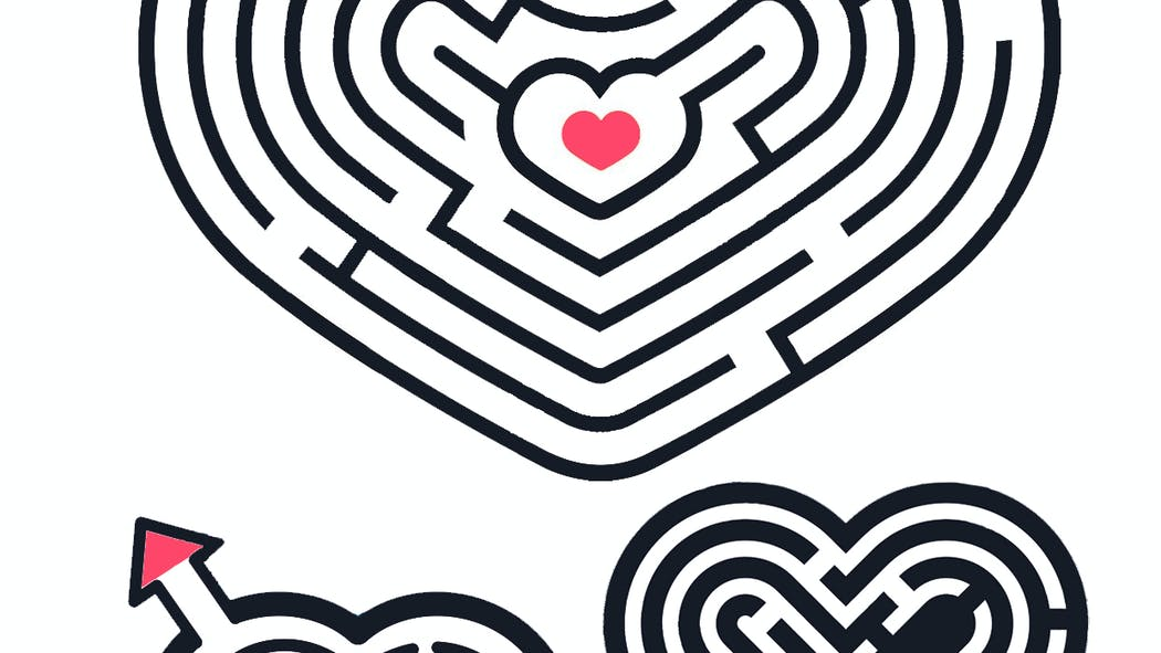 3 petits labyrinthes en formes de coeur