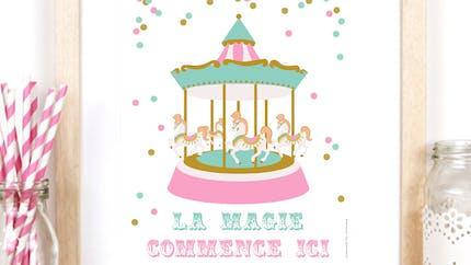 Affiche carrousel fête foraine à imprimer