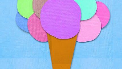 """Affiche collage """"Boules de glaces"""" en papier"""