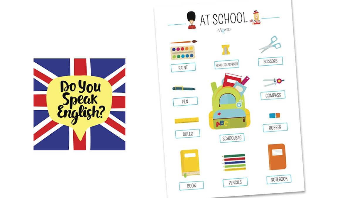 Affiche en anglais : les fournitures scolaires