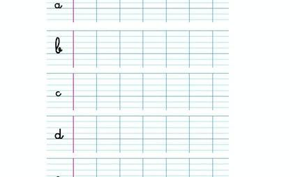 Apprendre à écrire les cursives minuscules a, b, c, d, e