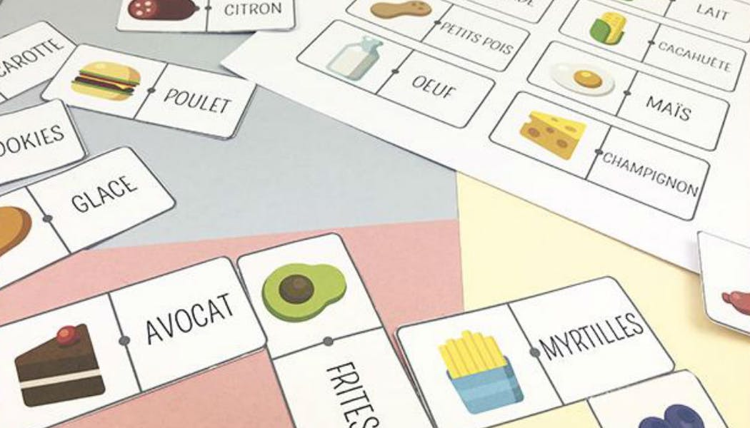Apprendre : dominos-lecture sur les aliments