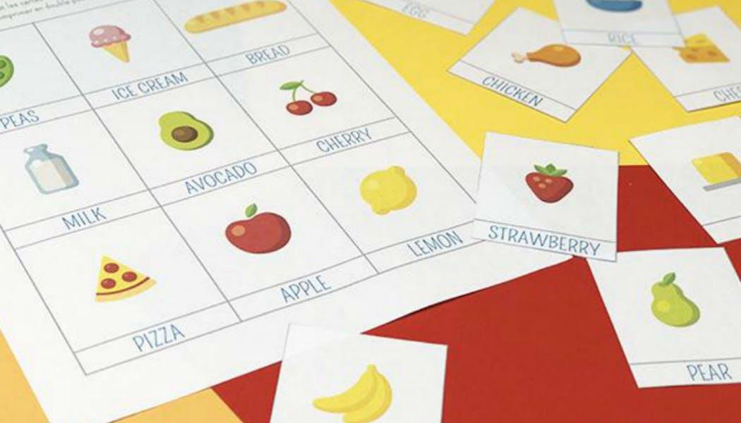 Apprendre : imagier en anglais sur la       nourriture