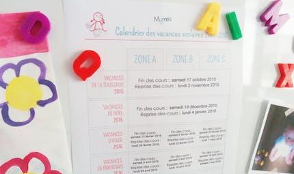 Calendrier des vacances scolaires à imprimer