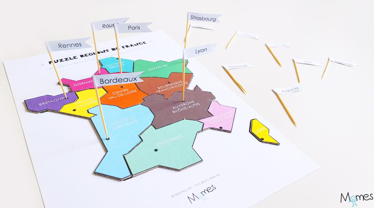 Carte Des Regions De France A Imprimer En Puzzle Momes Net