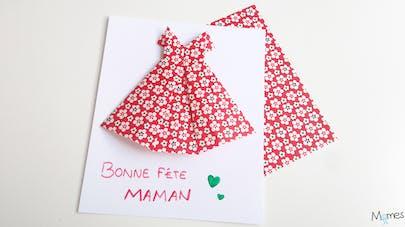 Carte fête des mères robe origami